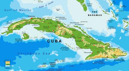 쿠바의 매우 상세한 물리적 맵.
