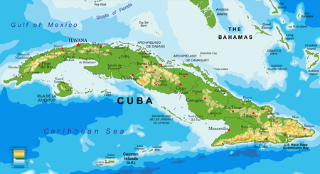 Highly detailed physical map of Cuba.