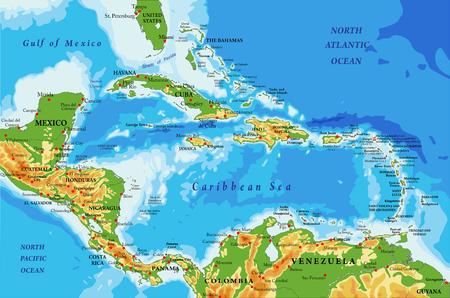 Fysieke kaart van Centraal-Amerika en de Caribische eilanden