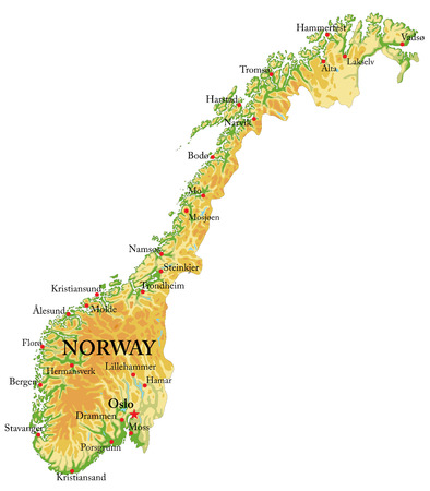 Highly detailed physical map of Norway,in vector format,with all the relief forms,regions and big cities.