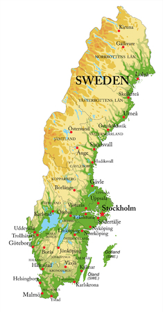 Highly detailed physical map of Sweden