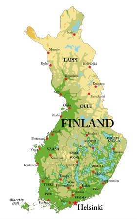 Bardzo szczegółowa mapa fizyczna Finlandii, z wszystkimi formami pomocy, regionami i dużym miastem.
