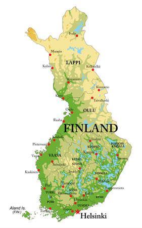Highly detailed physical map of Finland, with all the relief forms, regions and big city.