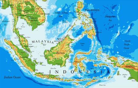 Carte physique très détaillée de l'Indonésie, en format vectoriel, avec toutes les formes de relief, les pays et les grandes villes