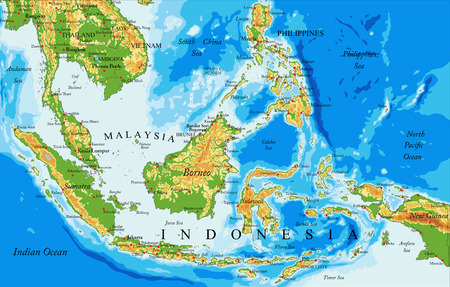 Highly detailed physical map of Indonesia            ,in vector format,with all the relief forms,countries and big cities