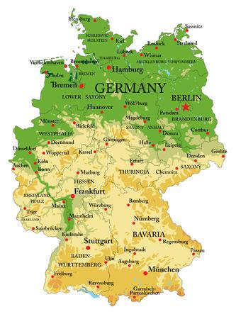 Bardzo szczegółowa mapa fizyczna Niemiec, w formacie wektorowym, ze wszystkimi formami reliefu, regionami i dużymi miastami. Ilustracje wektorowe