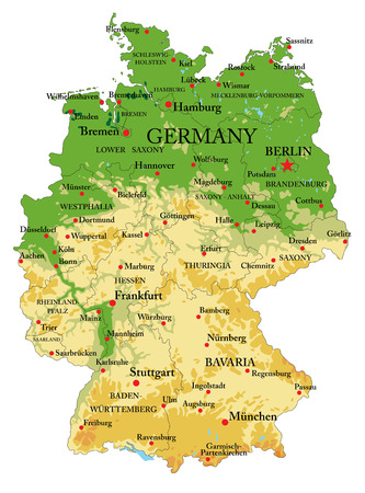 Carte physique très détaillée de l'Allemagne, en format vectoriel, avec toutes les formes en relief, régions et grandes villes. Vecteurs
