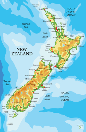 Highly detailed physical map of New Zealand,in vector format,with all the relief forms and big cities