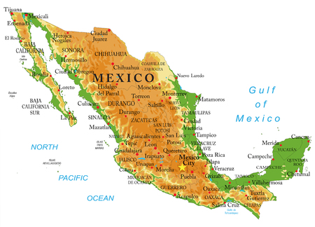 Highly detailed physical map of Mexico,in vector format,with all the relief forms,regions and big cities.