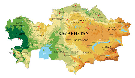 Kazakstan relief map