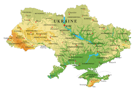 Highly detailed physical map of Ukraine in vector format,with all the relief forms,regions and big cities.