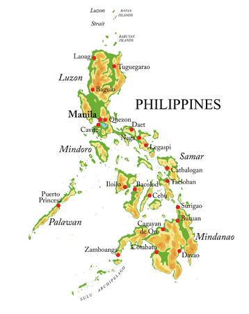 Philippines physical map. Иллюстрация