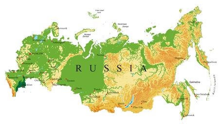 Mapa reliefowa Rosji