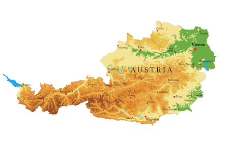 Austria relief map illustration.