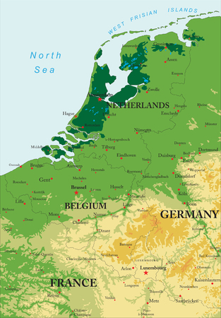 Benelux relief map