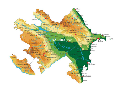 Azerbaijan relief map Illustration