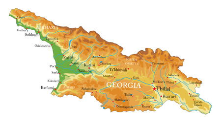 Highly detailed physical map of Georgia,in vector format,with all the relief forms,regions and big cities.