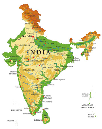 India relief map Vectores