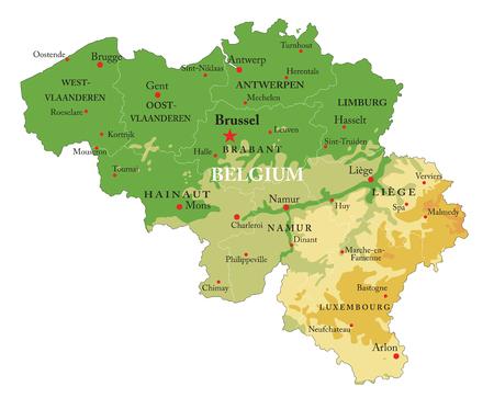 Carte physique de la Belgique très détaillée, en format vectoriel, avec toutes les formes en relief, les régions et les grandes villes. Vecteurs