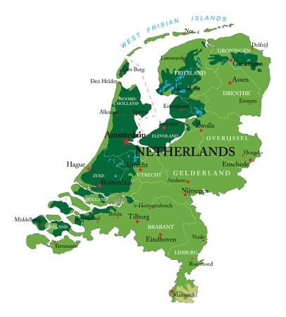 Netherlands relief map Stock Illustratie