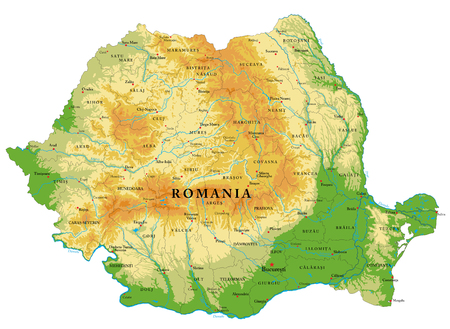 Romania relief map Illustration