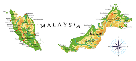 Malaysia physical map Vettoriali