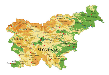 Slovenia physical map Illustration