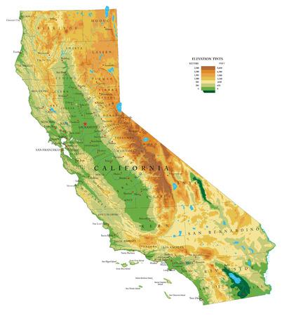 Fysieke kaart van Californië