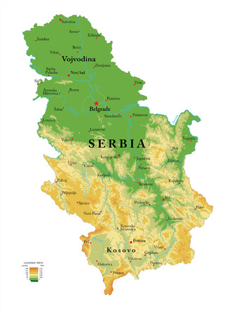 Highly detailed physical map of the Serbia, in vector format,with all the relief forms,regions and big cities.