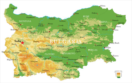 Highly detailed physical map of the Bulgaria, in vector format,with all the relief forms,regions and big cities.