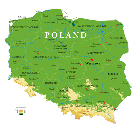 Bardzo szczegółowa mapa fizyczna Polski, w formacie wektorowym, ze wszystkimi formami rzeźby terenu, regionami i dużymi miastami.