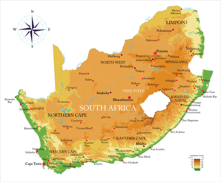 Highly detailed physical map of the South Africa, in vector format,with all the relief forms,regions and big cities.