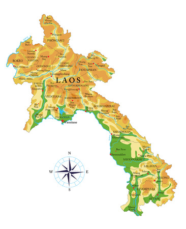 Highly detailed physical map of the Laos,in vector format,with all the relief forms,regions and big cities.