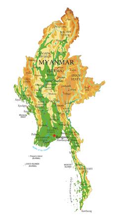 Highly detailed physical map of the Myanmar,in vector format,with all the relief forms,regions and big cities.