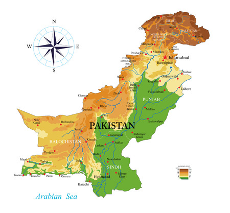 Highly detailed physical map of the Pakistan,in vector format,with all the relief forms,regions and big cities.