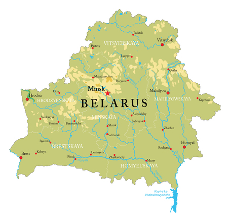 Highly detailed physical map of the Belarus,in vector format,with all the relief forms,regions and big cities.