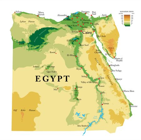 Egypt physical map Illustration