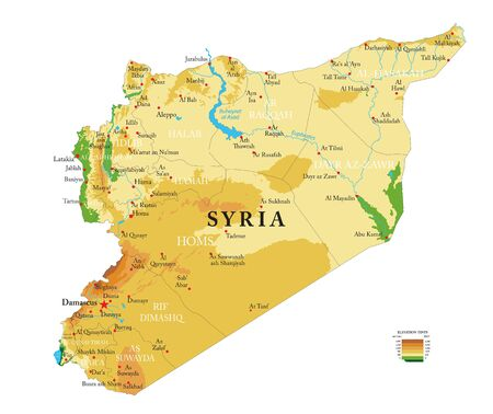 Highly detailed physical map of the Syria,in vector format,with all the relief forms,regions and big cities.