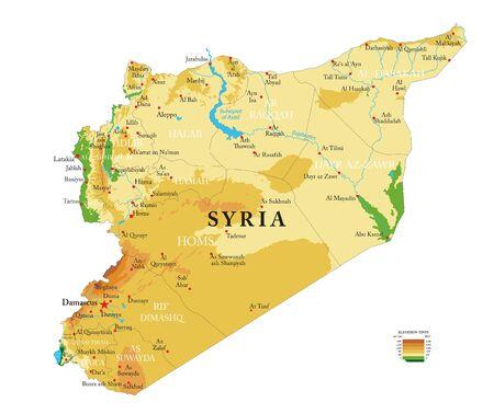 Zeer gedetailleerde fysieke kaart van Syrië, in vectorformaat, met alle reliëfvormen, regio's en grote steden. Vector Illustratie