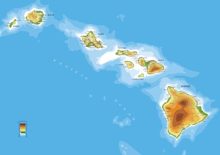 Highly detailed physical map of the Hawaii islands,in vector format,with all the relief forms,roads,regions and big cities. Illustration