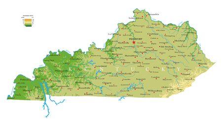 Kentucky physical map Ilustração