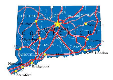 Connecticut state political map Ilustração