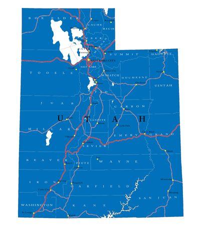 Utah state political map Ilustração