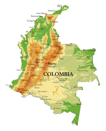 Highly detailed physical map of the Colombia,in vector format,with all the relief forms,regions and big cities. Foto de archivo - 149957324