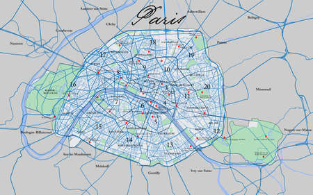 Highly detailed vector map of Paris with all arrondissements ,metropolitan area and main roads.