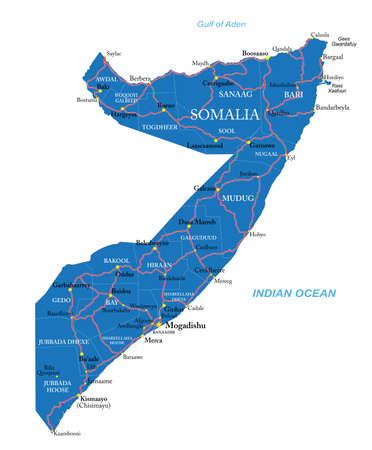 Highly detailed vector map of Somalia Vetores