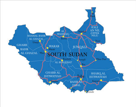 Highly detailed vector map of South Sudan,with administrative regions,main cities and roads.