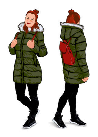 Girl in winter clothes, in two foreshortenings, on a white background
