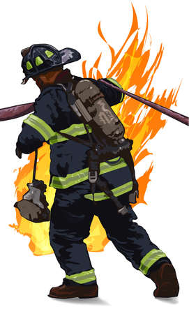 Firefighter drag the hose against the fire on a white background