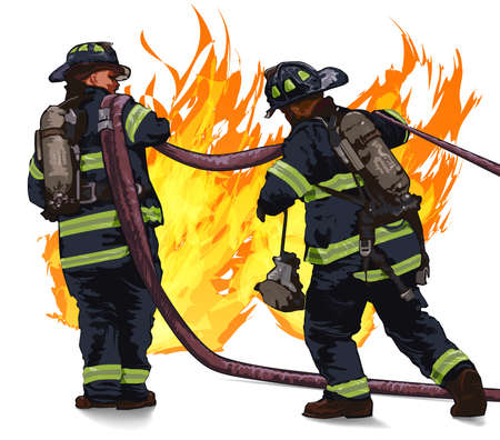 Firefighters drag the hose against the fire on a white background